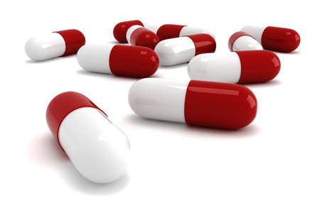 3d pills render, onwhite background Stock Photo - 8165173