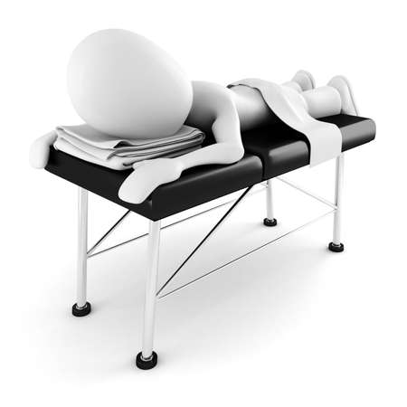 sexy man: 3d man, laying on a massage table, isolated on white background