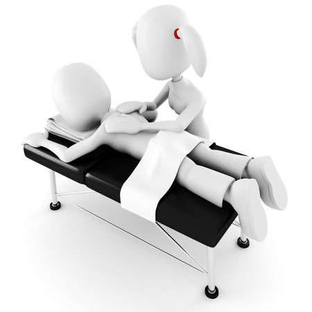 calm woman: 3d man, laying on a massage table, isolated on white background