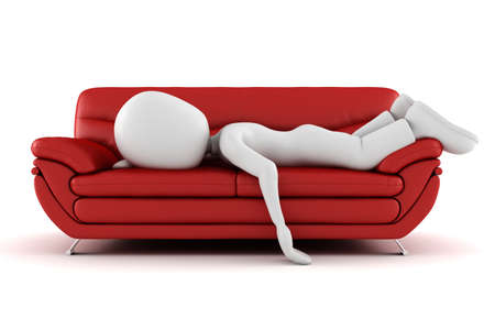 red couch: 3d man tired, sleeping on the couch
