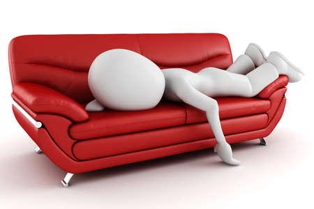 agotado: 3D hombre cansado, dormir en el sof�