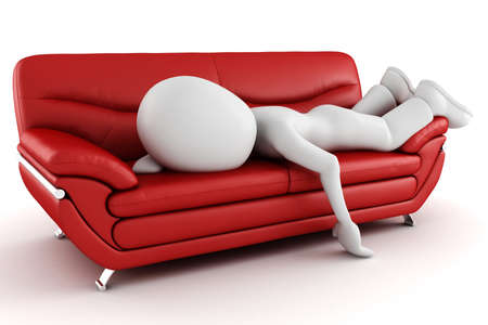 furniture idea: 3d man tired, sleeping on the couch