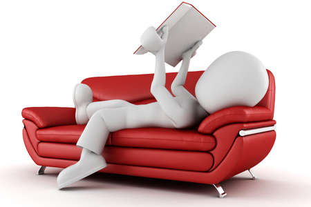 red couch: 3d man sitting on a couch reading a book