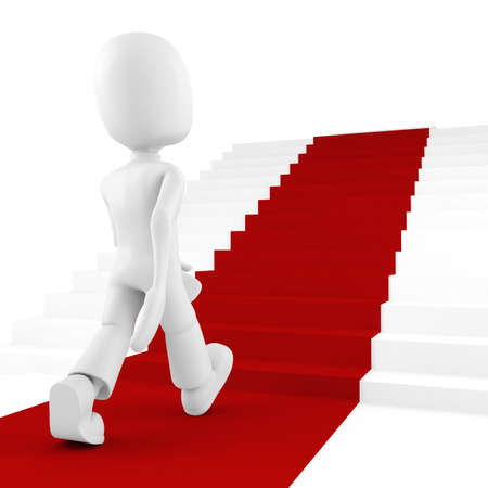3d man on red carpet climbing for success photo