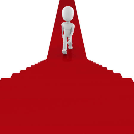 3d man on red carpet climbing for success Stock Photo - 8165150