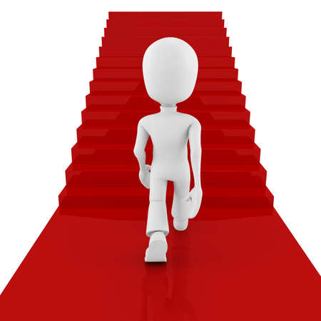 3d man on red carpet climbing for success Stock Photo - 8165185