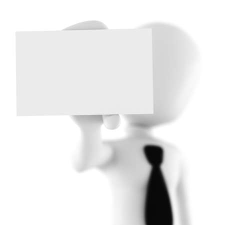3d man showing a blank business card photo
