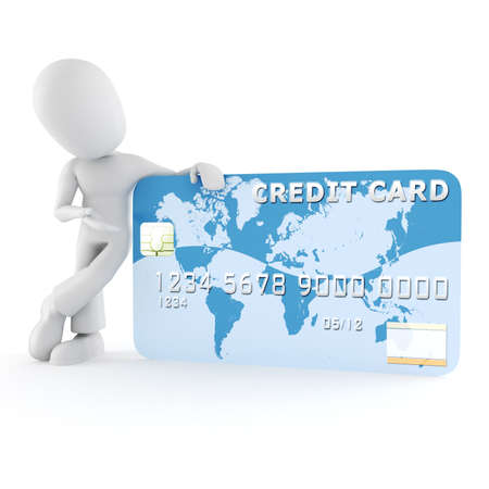 debit: 3d man standing near a business card