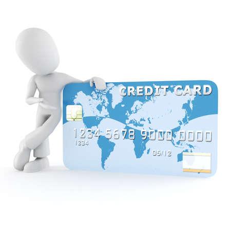 plastic money: 3d man standing near a business card
