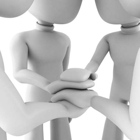 high society: 3d man teamwork, isolated on white