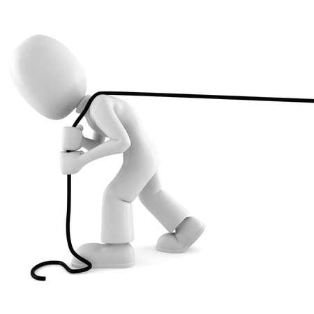 homme 3D tirant une corde, isolée sur fond blanc
