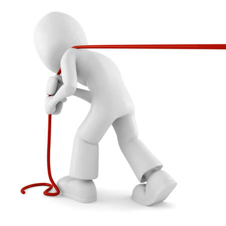 success control: 3d man pulling a rope, isolated on white Stock Photo