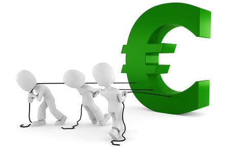3d man pulling the Euro symbol photo