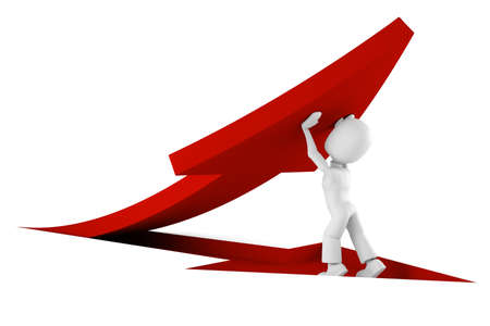 stock image: 3d man pushing a red arrow from the ground
