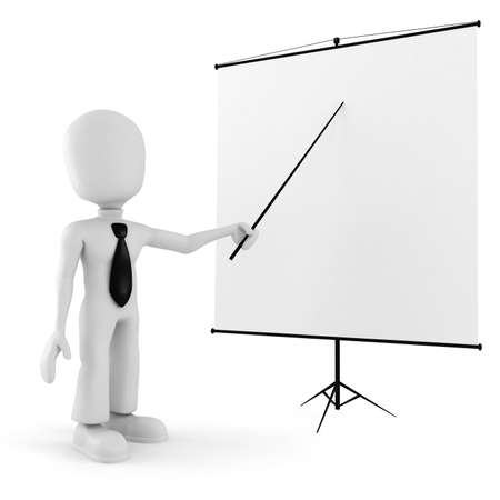3d man, conference, standing near a blank board Stock Photo - 8165115