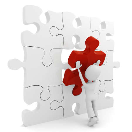 3d man pushing a puzzle piece into its place Stock Photo - 8165202