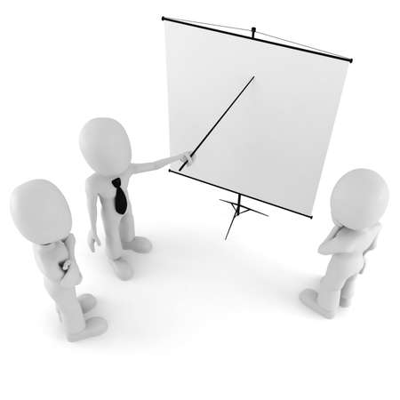 3d man, conference, standing near a blank board photo