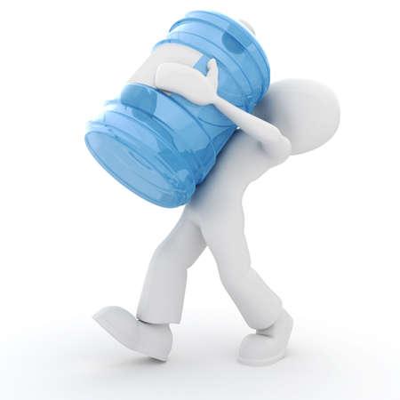 weitermachen: 3D Mann tr�gt eine Flasche Wasser