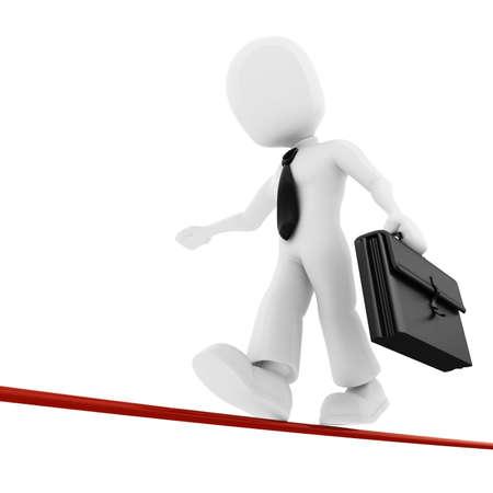 thin man: 3d man, businessman walking on thin line