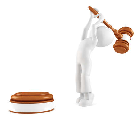 3d man holding a big gavel, isolated on white photo