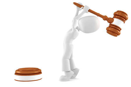 3d man holding a big gavel, isolated on white Stock Photo - 8164633