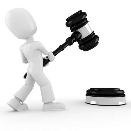 3d man holding a big gavel, isolated on white Stock Photo - 8165189