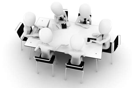 sitting at table: 3d man, business meeting, isolated on white Stock Photo