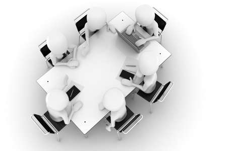 3d man, business meeting, isolated on white Stock Photo - 8161196