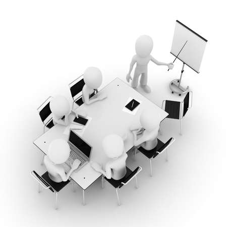 3d man, business meeting, isolated on white photo