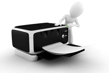 3d man printing some documents Stock Photo - 8164837