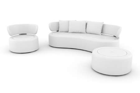 3d white couch isolated on white Stock Photo - 8165248