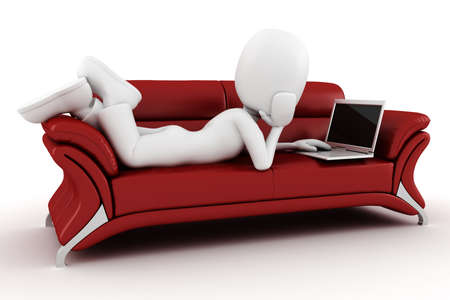 red sofa: 3d man with laptop sitting on a red sofa