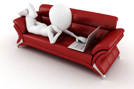 3d man with laptop sitting on a red sofa photo