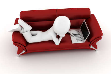 3d man with laptop sitting on a red sofa Stock Photo - 8161296
