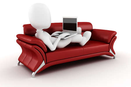 couch: 3d man with laptop sitting on a red sofa