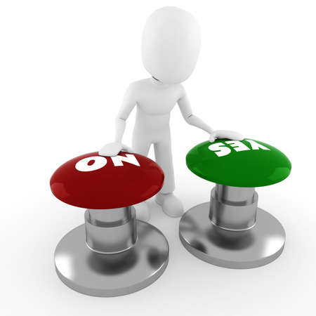 3d man chooseing between yes or no Stock Photo - 8164809