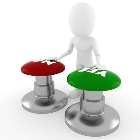 right ideas: 3D de hombre chooseing, entre s� o no