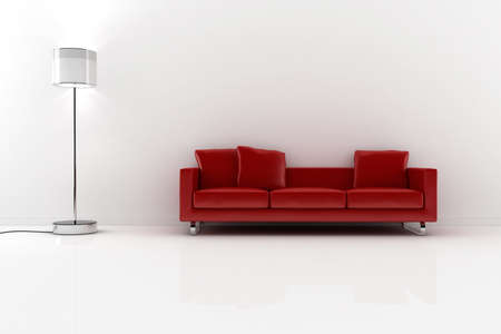3d red vouch and white walls photo