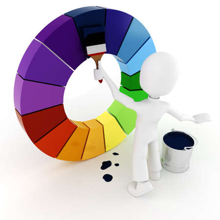 manual workers: 3d man painting a color wheel Stock Photo