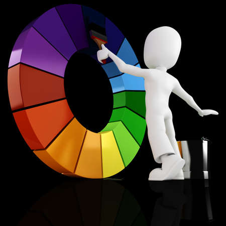 chrome man: 3d man painting a color wheel Stock Photo