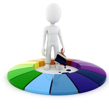 3d man painting a color pie chart Stock Photo - 8381726