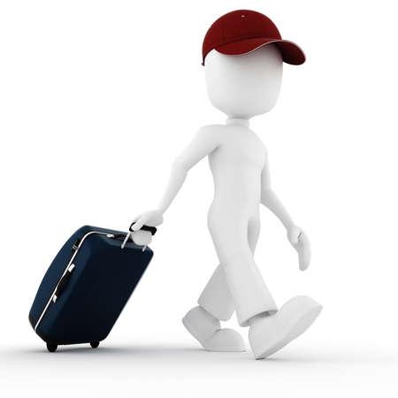 3d man traveler, in vacation