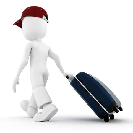 business traveler: 3d man traveler, in vacation Stock Photo
