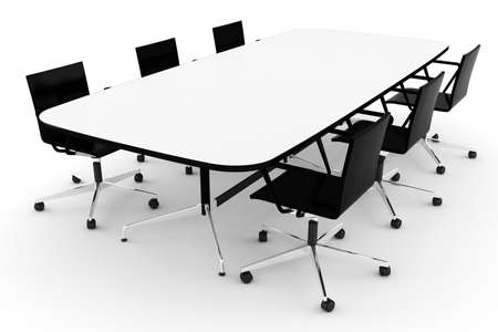 3d conference table, on white photo
