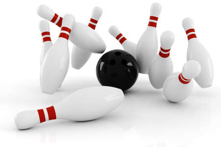 strike: 3d bowlink, strike ! Stock Photo
