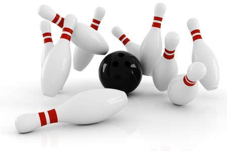 straight pin: 3d bowlink, strike ! Stock Photo