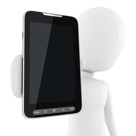 phone button: 3D man, die presenteert een nieuwe mobiele telefoon