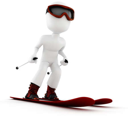 uomo rosso: 3D gli sport invernali estreme uomo Archivio Fotografico