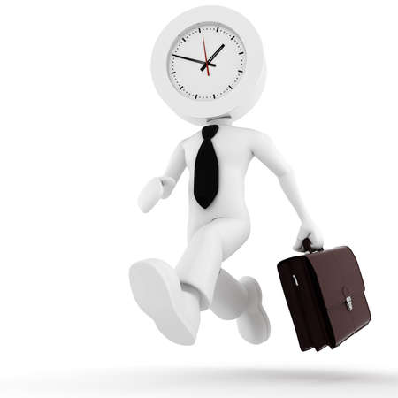time work: 3d man,  businessman running out of time