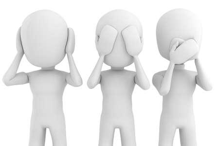 quiet adult: 3d man No see, talk or hear